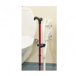 This holder attaches to a round tube, such as on a walker or wheelchair, the cane or crutch is pushe..