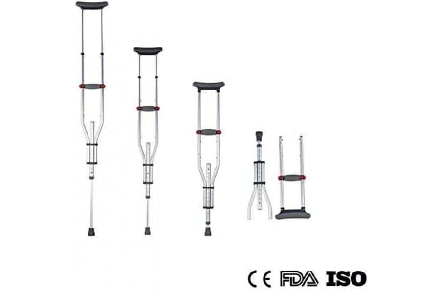 Aluminum Foldable 3-in-1 Stick crutches,Crutches, UnderarmFold size 57x20 CM / 22.5x8 inch, Adjustab..