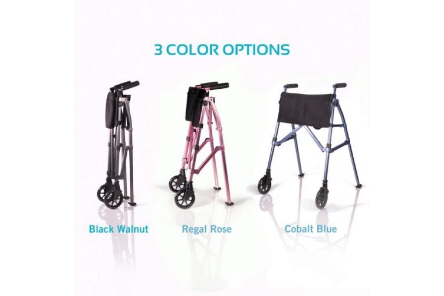 EASILY FOLDS: Folds 4-times smaller than average walker6″ WHEELS: Locking-swivel wheels for choice o..