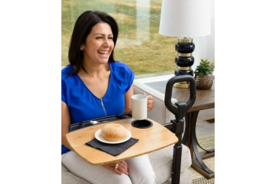 Ergonomic safety handle provides balance and support for sitting and standing motionsFully Adjustabl..