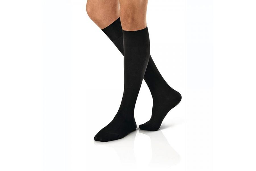 FASHIONABLE COMFORTFashionable ribbed design looks like a fine men's dress sockReinforced heel and t..