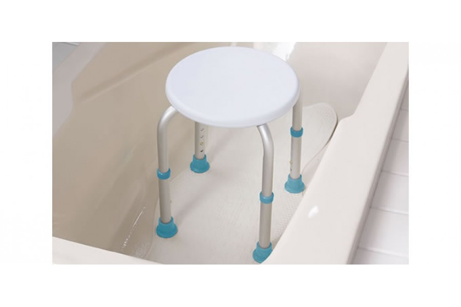 When standing up in the bathtub or the shower becomes difficult, a shower stool can offer security a..